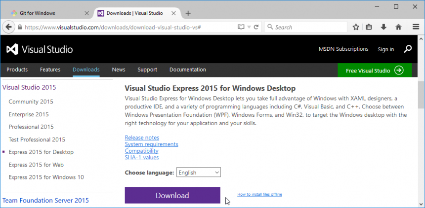 "Make extra sure you got the ""Express 2015 for Desktop."